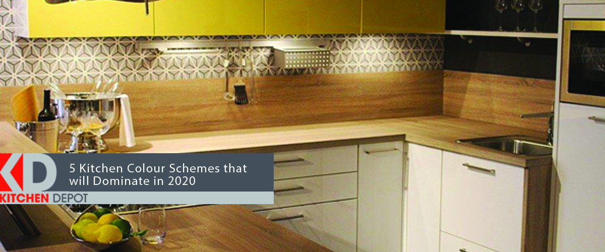 Neutral kitchen with bright yellow cabinets above the counter