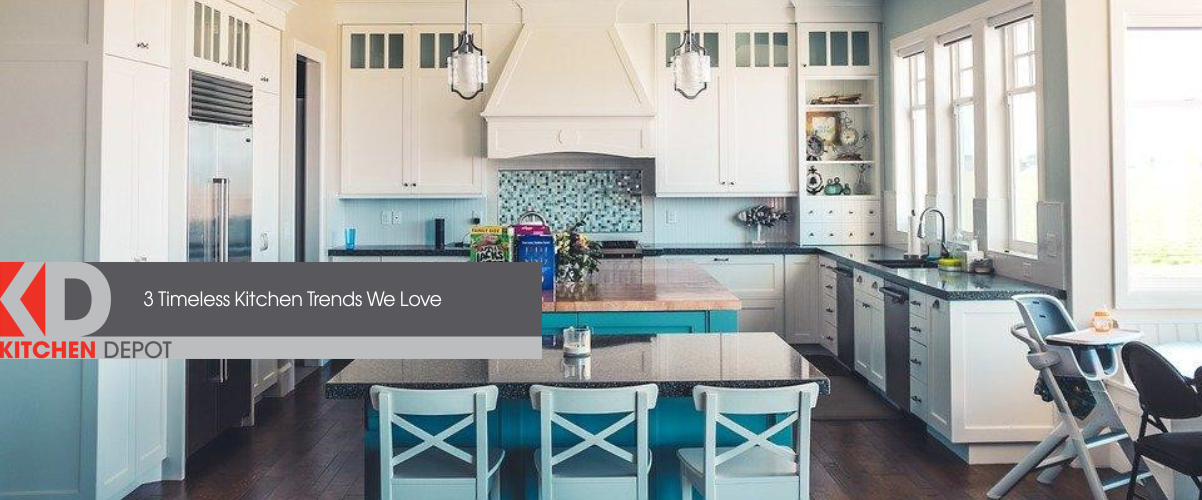 White and Blue kitchen with kitchen island