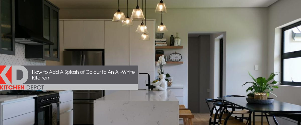 All-white kitchen with hints of black